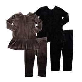 Girls Sparkled Velour Tier 2Pc Shabbos Pajamas