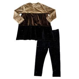 Girls Tri Color Velour 2Pc Shabbos Pajama