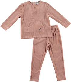 Girls Velvet Double Ribbed 2Pc Pajama