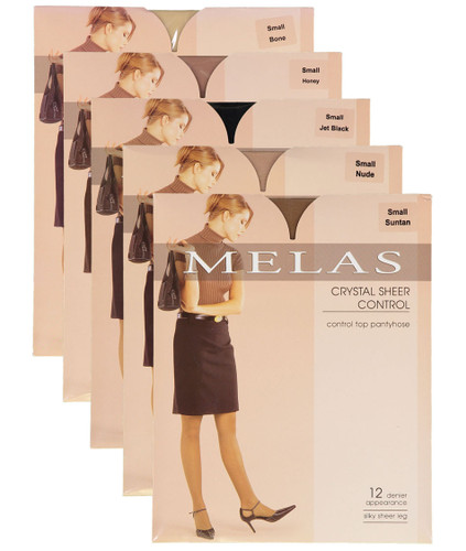 Melas Womens Sheer Control Top 12 Denier Pantyhose - AS-609