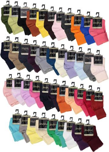 Memoi Boys Girls Unisex Basic Solid Color Triple Roll Socks