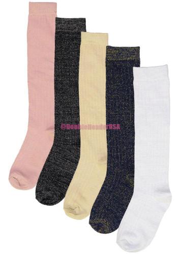 BlinQ Girls Metallic Ribbed Knee Socks