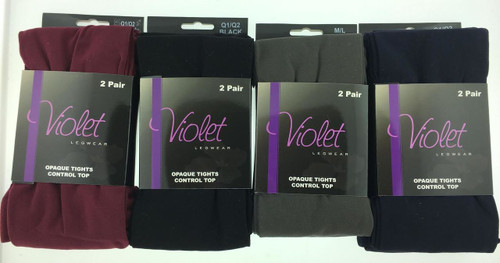 Violet 2 Pack Opaque Control Top Tights