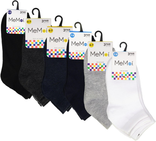 Memoi Boys Girls Unisex Mid-Cut Crew Socks 3 Pack