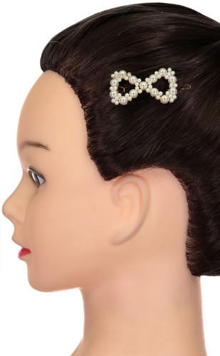 Riqki Pearl Bow Hair Small Clip