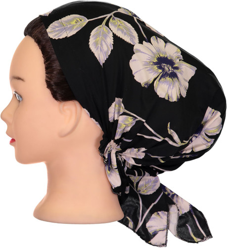 Riqki Womens Lavender Floral Pre-Tied Bandana