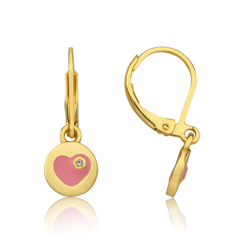 LMTS Girls Enamel Heart Accented With A Crystal Leverback Earring