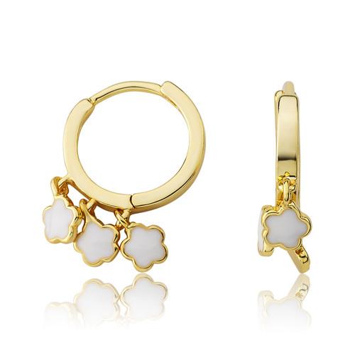 LMTS Girls White Flower Dangle Leverback Earring