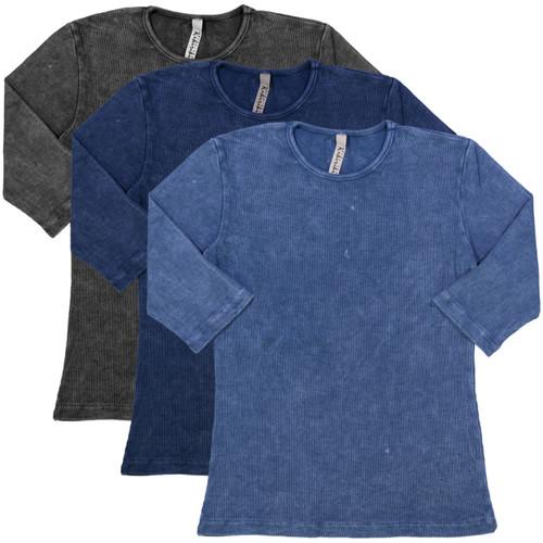 Kiki Riki Girls Ribbed Stonewash 3/4 Sleeve T-shirt