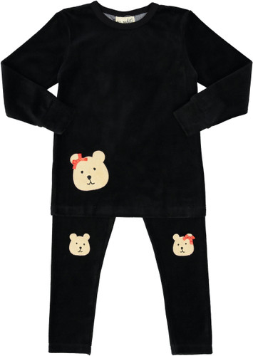 All Navy Girls Velour Teddy Bear Pajamas - 85W202-G