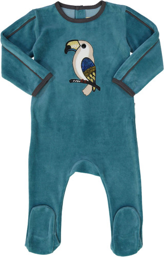 All Navy Baby Boys Velour Parrot Stretchie - 83W201-B