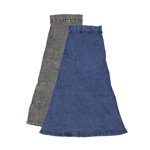 Kiki Riki Womans Thick Ribbed Stonewash Long A-line Skirt