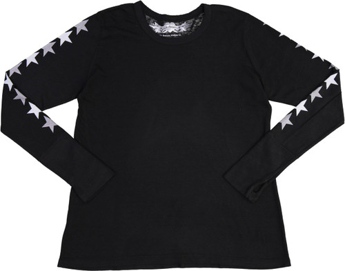 So Nikki Girls StarBack Long Sleeve T-shirt - 1067K-P714B-SLVS/SILVER-STAR-BACK