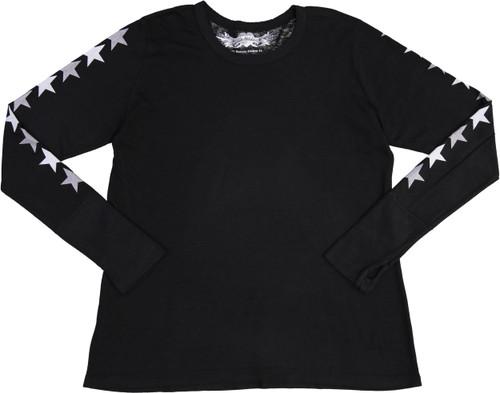 So Nikki Womens StarBack Long Sleeve T-shirt - 1067J-P714B-SLVS/SILVER-STAR-BACK
