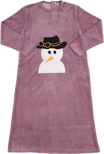 Teddy Bear Girls Velour Snowman Nightgown