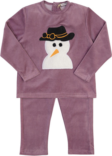 Teddy Bear Girls Velour Snowman Pajamas - CN13PG