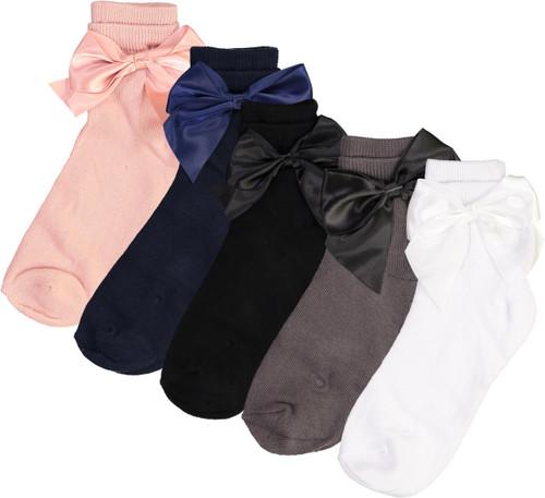 Memoi Girls Side Bow Ankle Socks - MKF-6032