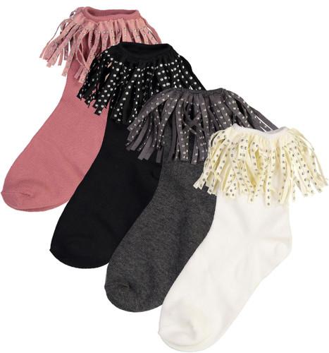 BlinQ Girls Suede Studded Trim Anklet Socks - 2019522