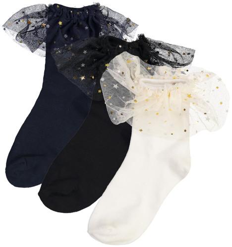 BlinQ Girls Star Tulle Trim Anklet Socks - 2019525