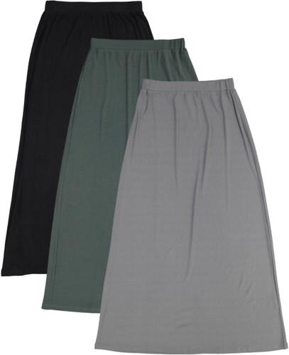 Womens Long Ribbed Skirt - BK-JH251