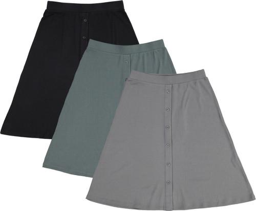 BGDK Womens Ribbed Skirt w/Buttons - BK-JH253