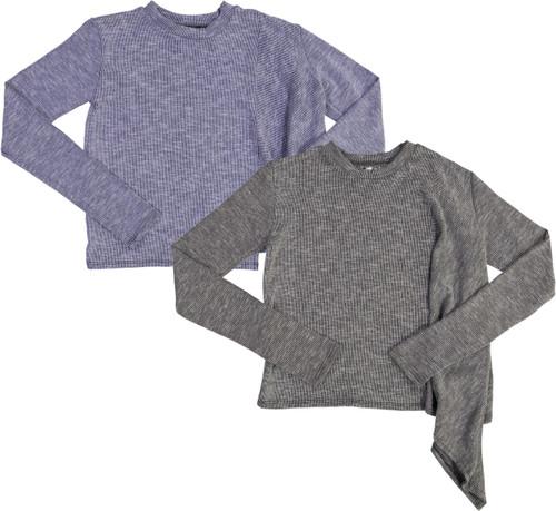 So Nikki Girls Asymmetrical Ribbed Long Sleeve T-shirt - 6512K