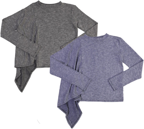 So Nikki Womens Asymmetrical Ribbed Long Sleeve T-shirt - 6512J