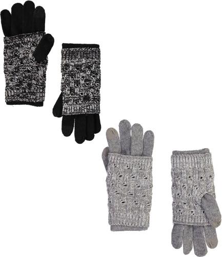 Riqki Womens Layered Knit Gloves - EAGL3543