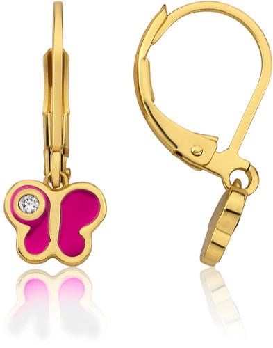LMTS Girls Hot Pink Butterfly Crystal Speck Earrings - ER6282B-HP-GP