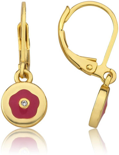 LMTS Girls Enamel Flower Accented With A Crystal Leverback Earrings - ER6307B-HP-GP