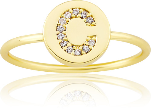"LMTS Girls Gold-Plated ""C"" Letter Ring - RG6025B-C-GP"