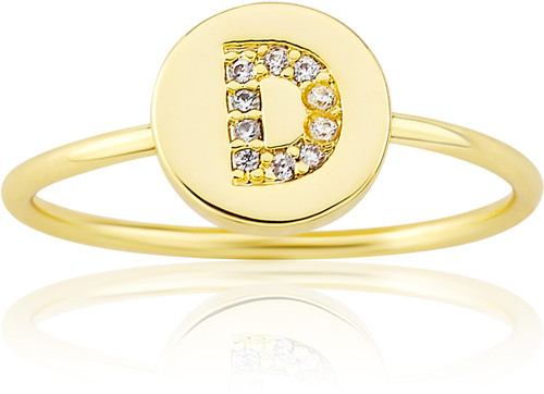 """LMTS Girls Gold-Plated """"D"""" Letter Ring - RG6025B-D-GP"""