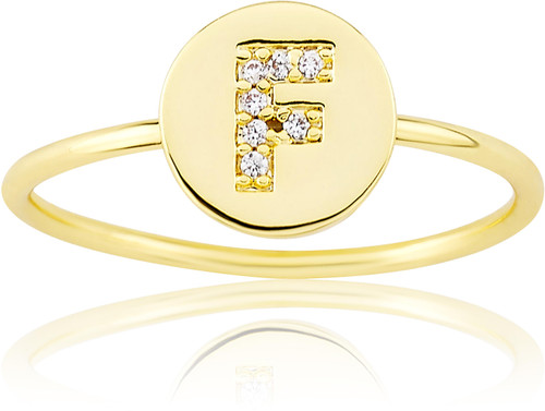 """LMTS Girls Gold-Plated """"F"""" Letter Ring - RG6025B-F-GP"""