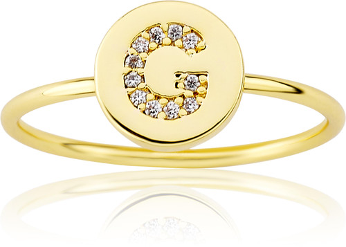 """LMTS Girls Gold-Plated """"G"""" Letter Ring - RG6025B-G-GP"""