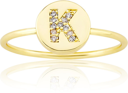 "LMTS Girls Gold-Plated ""K"" Letter Ring - RG6025B-K-GP"