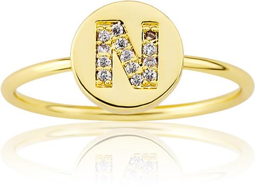 "LMTS Girls Gold-Plated ""N"" Letter Ring - RG6025B-N-GP"