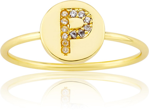 """LMTS Girls Gold-Plated """"P"""" Letter Ring - RG6025B-P-GP"""