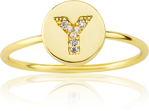 "LMTS Girls Gold-Plated ""Y"" Letter Ring - RG6025B-Y-GP"