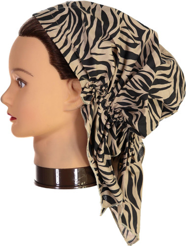 Riqki Womens Tan Zebra Pre-Tied Bandana - PTBC1048