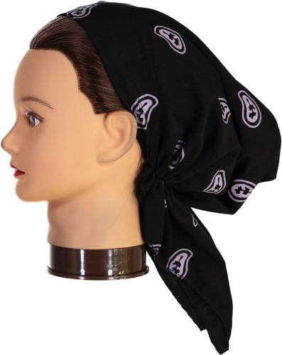 Riqki Womens Black Lavender Paisley Pre-Tied Bandana - PTBL1050