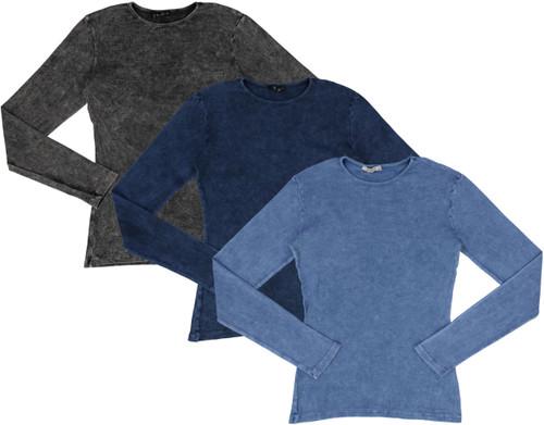 Kiki Riki Womens Long Sleeve Ribbed Stonewash T-shirt - 27770