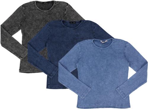 Kiki Riki Girls Long Sleeve Ribbed Stonewash T-shirt - 27771