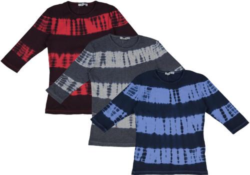 Kiki Riki Girls Ribbed Tie Dye Pattern 3/4 Sleeve T-shirt - 28000