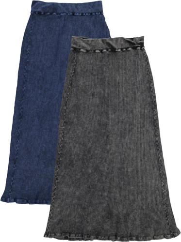 Kiki Riki Womans Thick Ribbed Stonewash Long Straight Skirt - 41935