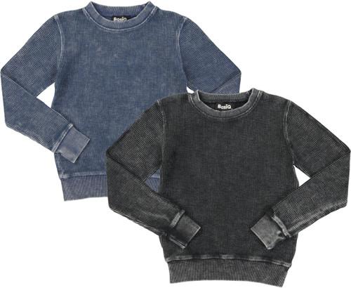 Basiq Apparel Boys Girls Unisex Denim Wash Crew Sweatshirt - MGG01K
