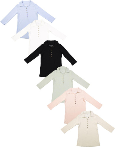 Point Womens Ribbed Summer Fabric Polo Shirt - S20-524