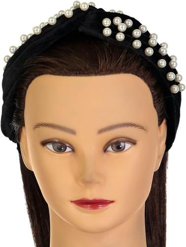 Riqki Womens Velour Pearl Knot Fall Headband - HTE0762B