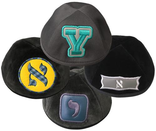 Yarmulka w/ Embroidery - Initial in Shape Leather