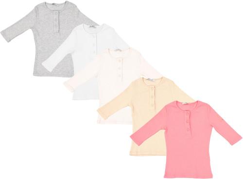 Kiki Riki Girls Ribbed 3/4 Sleeve Henley T-shirt - 28673