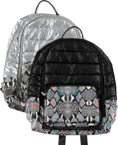 Bari Lynn Faux Snakeskin Backpack